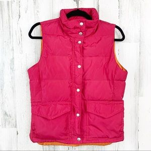 J CREW Down Filled Pink Puffer/Orange Lined Vest
